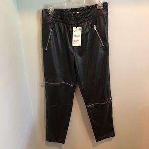 Zara   Vegan Leather Zipper Jogging Pants